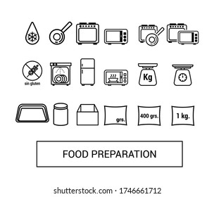 Vector icons. Food preparation image. Image of an oven, microwave, defrost, dishwasher, casserole, frying pan, containers, jar, bag and gluten-free.