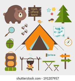 Vector icons forest camping set with a pine or fir tree  bear  map  tent with open flaps  rucksack or backpack  campfire  compass  water bottle  magnifying glass  paw prints  signpost  torch  table