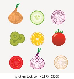 Vector icons of fresh sliced fruits and vegetables