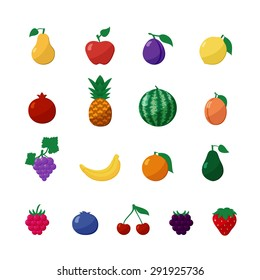Vector Icons Fruits and Berries in Flat Style Set Isolated over White with Apple, Pear, Banana, Lemon, Cherry, Strawberry, Raspberry, Blueberry, Blackberry, Grapes, Orange, Plum, Watermelon, Avocado