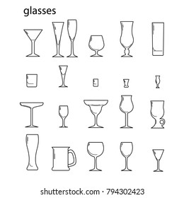 Vector icons of glassware. Bar glass.