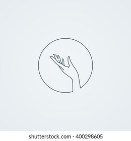 Vector icons with a graceful female hand in a beautiful setting. Logo. Monoicon.