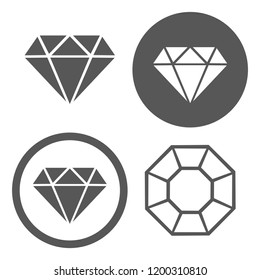 Vector icons of graphic representations of diamonds logos