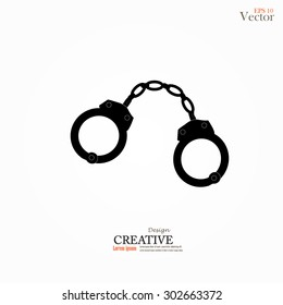 Vector icons of handcuffs.handcuff.crime law concept.handcuff with criminal law word.vector illustration.