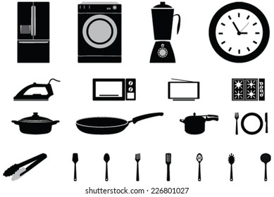 Vector icons of home appliances  and Consumer Electronics Tv Fridge Microwave Washer utensils, pressure cooker and Electric Cooker