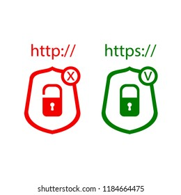 Vector Icons: http and https Protocols with Lock, Green and Red Icons, Check and Cross: Red and Green Colors.