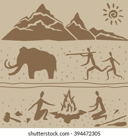 Vector icons of ice age symbols
