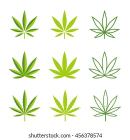 Vector icons illustrations of leaves of marijuana plants, in 3 different styles.