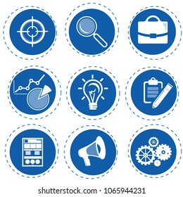 Vector icons, Inbound Marketing Graphic with blogging, Web Pages, advertising, landing page, search, business, target, setting and analytics or reporting