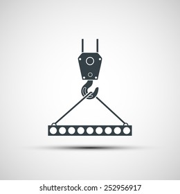 Vector icons of industrial hook with reinforced concrete slab