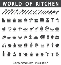vector icons of kitchen and food on a white background