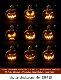 Vector icons of a lighten Jack O Lantern glowing in the dark in 9 Scary expressions. Each expression on separate Layer. Pumpkin, Eyes, Mouth, Glow and Floor Glow on separate groups.