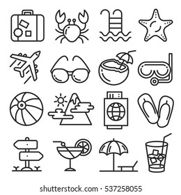 Vector icons lines set collection summer beach tour
