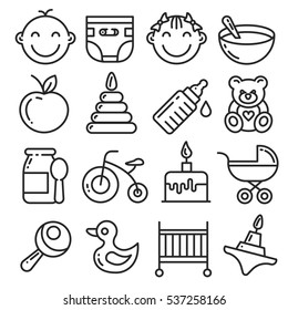 Vector icons lines set collection baby kid child