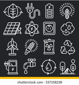 Vector icons lines set collection eco nature