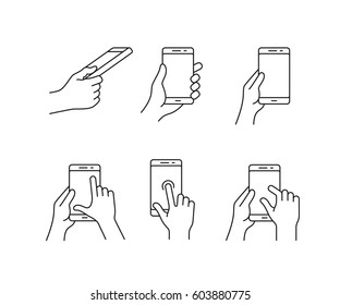 Vector icons for a mobile application. User interface or manual gesture icon set. Gesture touch icons