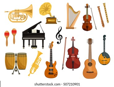 Vector icons of musical instruments. Isolated string and wind music instruments of cymbals, trumpet, drums, harp, gramophone, guitar, violin, contrabass, saxophone, flute, mandolin, music clef