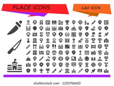 Vector icons pack of 120 filled place icons. Simple modern icons about  - Knife, Berlin, Placeholder, Location, Badge, Parking, Map, Church, Trophy, Marker, Maps, Notre dame, Castle, Location pin