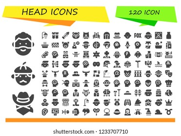 Vector icons pack of 120 filled head icons. Simple modern icons about  - Man, Cowboy, Shower, Shin guards, Fishbone, Panda, Cat, Virtual reality, Helmet, Top hat, Avatar, Fox, Face, Milk, Plait