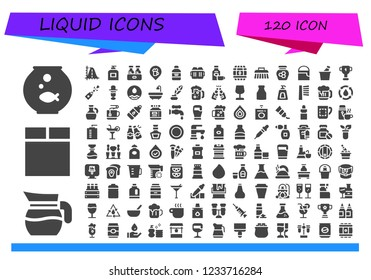 Vector icons pack of 120 filled liquid icons. Simple modern icons about  - Fishbowl, Jug, Washing machine, Parabola, Soap, Beer, Bar, Wine bottle, Beers, Rum, Barrel, Brush, Honey, Paint bucket