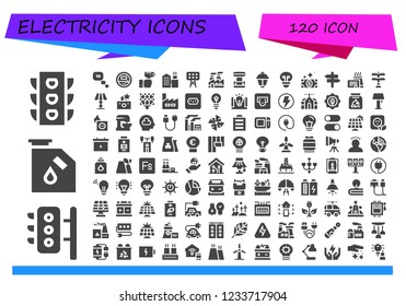 Vector icons pack of 120 filled electricity icons. Simple modern icons about  - Traffic light, Traffic lights, Gas, Thinking, Voltmeter, Technology, Factory, Lights, Industry, coil, Lamppost