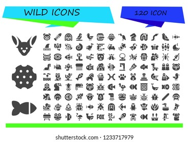 Vector icons pack of 120 filled wild icons. Simple modern icons about  - Fennec, Fish, Revolver, Panda bear, Fishbone, Sloth, Bird, Hunter, Vulture, Horse, Snake, Swordfish, Shark, Elephant
