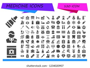 Vector icons pack of 120 filled medicine icons. Simple modern icons about  - Nasal spray, Virus, Pharmacist, Snake, Pharmacy, Test tubes, Stretcher, Anti age, Blood, Flask, Plaster, Poison, Fishbone