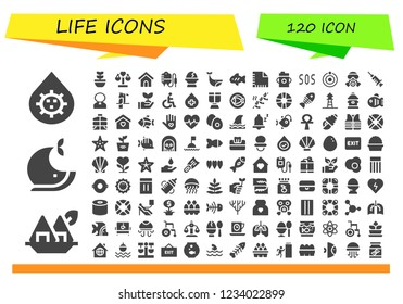 Vector icons pack of 120 filled life icons. Simple modern icons about  - Blood, Seaweed, Whale, Plant, Balance, Dog house, Transfusion, Egg, Fish, Napkin, Feeding bottle, Sos, Atom, Gas mask