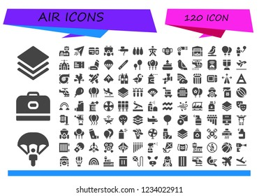 Vector icons pack of 120 filled air icons. Simple modern icons about  - Layer, Parachute, Carrier, Airport, Paper plane, Plane ticket, Gas mask, Airbrush, Balloons, Wingsuit, Mask, Hairdryer