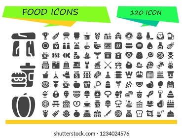 Vector icons pack of 120 filled food icons. Simple modern icons about  - Dolmen, Pepper, Fast food, Cup, Cutter, Charcoal, Mayonnaise, Package, Dog, Farm, Hermit crab, Donut, Chick, Sake, Feed