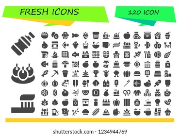 Vector icons pack of 120 filled fresh icons. Simple modern icons about  - Bottle, Toothbrush, Bitterballen, Salad, Boiled egg, Muffin, Fish, Strawberry, Toast, Cup, Jelly, Apple, Portable fridge