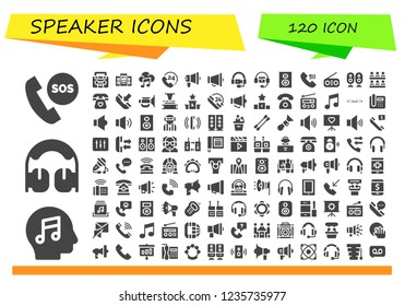 Vector icons pack of 120 filled speaker icons. Simple modern icons about  - Telephone, Music, Headphones, Radio, Loudspeaker, Call, Megaphone, Woofer, Classroom, Phone, Jazz, Phonograph