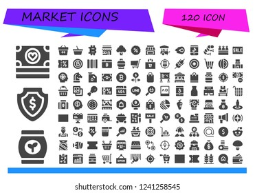Vector icons pack of 120 filled market icons. Simple modern icons about  - Money, Bag, Basket, Bitcoin, Market, Broccoli, Coupon, Store, Food cart, Media fire, Online store, Shrimp, Carrots