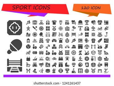 Vector icons pack of 120 filled sport icons. Simple modern icons about  - Dohyo, Boxing ring, Table tennis, Torch, Ski, Car, Nunchaku, Football jersey, Hot air balloon, Bowling, Shirt, Cap