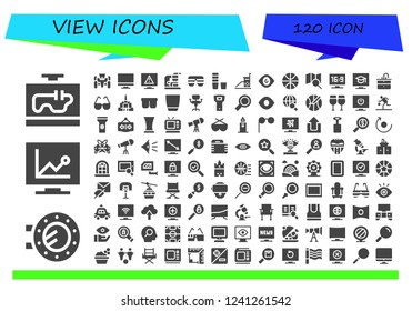 Vector icons pack of 120 filled view icons. Simple modern icons about  - Television, Porthole, Race car, Tv, Microscope, Sunglasses, Glass, Vigilance, Eye, Basketball, Search, Sink, Glasses