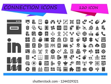 Vector icons pack of 120 filled connection icons. Simple modern icons about  - Browser, Server, Linkedin, Smartphone, Pendrive, Mouse, Network, Transform, United, Call, Share, Settings