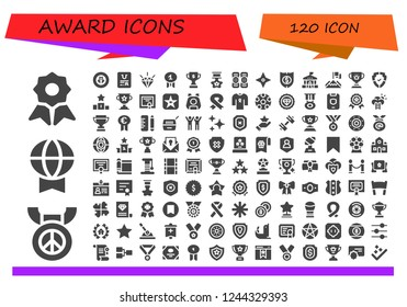 Vector icons pack of 120 filled award icons. Simple modern icons about  - Quality, Medal, Prize, Shield, Certificate, Trophy, Star, Kneepad, School, Achievement, Podium, Diploma, Movie