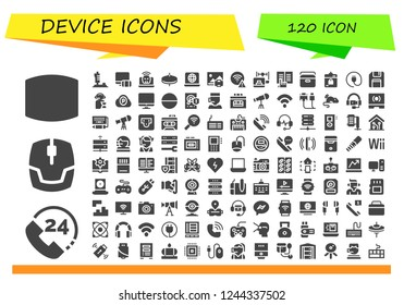 Vector icons pack of 120 filled device icons. Simple modern icons about  - Screen, Call, Mouse, Joystick, Responsive, Laptop, Cymbals, Print, Wifi, Ebook, Portable fridge, Harddrive, Plug