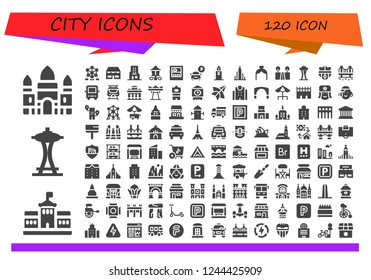Vector icons pack of 120 filled city icons. Simple modern icons about  - Angkor wat, Berlin, Space needle, Atomium, Shop, Skyscraper, Street lamp, Parking, Clock tower, Burj khalifa, Arch