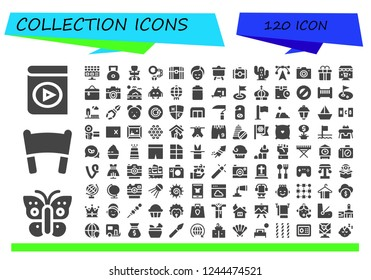 Vector icons pack of 120 filled collection icons. Simple modern icons about  - Audio book, Butterfly, Banner, Online shop, Weight, Office chair, Handcuffs, Chest, Makeup, Canvas, Camera