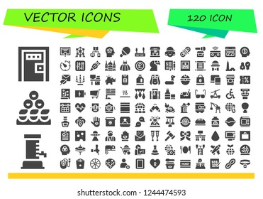 Vector icons pack of 120 filled vector icons. Simple modern icons about  - Death penalty, Beer, Friends, Diploma, Atomium, Connection, Mind, Table tennis, Lake, Coffee machine, Avatar, Rope