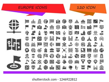 Vector icons pack of 120 filled europe icons. Simple modern icons about  - Earth, Flag, Map, Flags, Berlin, Pisa, Earth globe, Nantes, Louvre, Brandenburg gate, World, London eye