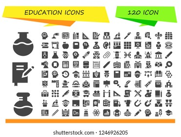 Vector icons pack of 120 filled education icons. Simple modern icons about  - Flask, Book, Mind, Paint tube, Diploma, Pencil, Ruler, Letter, Learning, Microscope, Pen, Reading