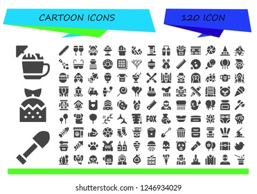 Vector icons pack of 120 filled cartoon icons. Simple modern icons about  - Ice cream, Shovel, Strawberry, Centipede, Glasses, Teddy bear, Cactus, Plastered arm, Scratcher, Nunchaku