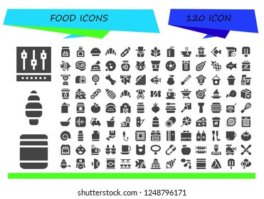 Vector icons pack of 120 filled food icons. Simple modern icons about  - Mixer, Baby food, Ice cream, Food, Pie, Croissant, Cutter, Fitness, Spinach, Water bottle, Tea, Coffee