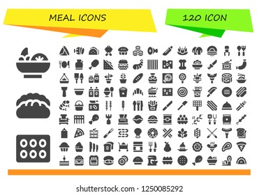 Vector icons pack of 120 filled meal icons. Simple modern icons about  - Salad, Cupcake, Bread, Samosa, Salami, Taco, Barbecue, Pie, Sushi, Meat, Knife, Bitterballen, Mushroom