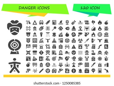 Vector icons pack of 120 filled danger icons. Simple modern icons about  - Bandit, Wingsuit, Cam, Gun, Fire, Safety, Bullet, Death penalty, Shark, Traffic light, Bomb, Bullets