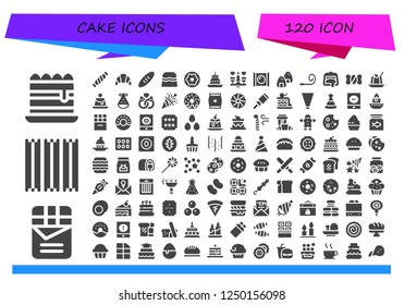 Vector icons pack of 120 filled cake icons. Simple modern icons about  - Tiramisu, Chocolate, Churros, Candy, Croissant, Bread, Donut, Cake, Dating, Onigiri, Party blower, Candy shop