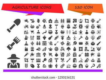 Vector icons pack of 120 filled agriculture icons. Simple modern icons about  - Shovel, Gardener, Rake, Wheelbarrow, Swarm, Radish, Watering can, Garden, Windmill, Wheat, Honey