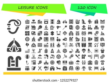 Vector icons pack of 120 filled leisure icons. Simple modern icons about  - Carabiner, Swimming pool, Tent, Sailboat, Cinema, Roller skate, Matches, Film, Bike, Picnic, Waterpark